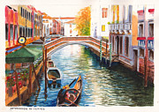 Tourism Drawings Prints - Afternoon on a canal in Venice Italy Print by Dai Wynn
