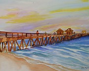Golf Of Mexico Prints - Afternoon on Naples Pier Print by Jane  Ricker