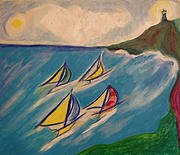 Yellow Sailboats Originals - Afternoon Regatta by jrr by First Star Art