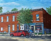 Montreal Buildings Painting Prints - Afternoon Ride Pointe St Charles Print by Reb Frost
