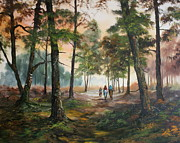 National Parks Paintings - Afternoon Ride Through The Forest by Jean Walker