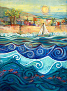 Coastal Art Posters - Afternoon Sail Poster by Jen Norton