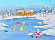 Log Cabin Art Paintings - Afternoon Skaters by Virginia Ann Hemingson