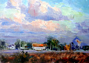 Cycling Art Paintings - Afternoon Sky by Mark Hartung