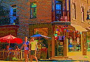 Bistro Paintings - Afternoon Stroll French Bistro Sidewalk Cafe Colors Of Montreal Flags And Umbrellas City Scene Art by Carole Spandau