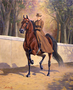 Saddlebred Posters - Afternoon Stroll Poster by Jeanne Newton Schoborg