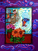 Window Art On Canvas Posters - Afternoon Tea By The Window Poster by Genevieve Esson