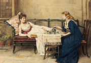 Settee Framed Prints - Afternoon Tea Framed Print by George Goodwin Kilburne