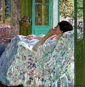 Sensuous Posters - Afternoon Yellow Room Poster by Carl Frieseke