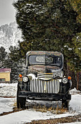 Chevy Pickup Art - Afther the Snow Falls Verticle by Ken Smith