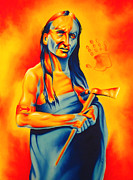 Native American Art Mixed Media Posters - Again? Poster by Robert Martinez