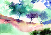 Nature Scene Paintings - Against Light 1 by Anil Nene