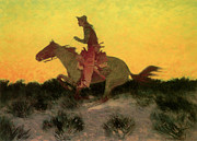 Frederic Remington Posters - Against the Sunset Poster by Frederic Remington