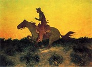Remington Painting Prints - Against the Sunset Print by Pg Reproductions