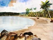 Coconut Trees Paintings - Aganoa Beach Samoa by Carlin Blahnik