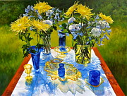 Outdoor Still Life Paintings - Agapanthus Blue Morning  by Cynthia Peterson