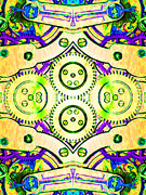 Symmetrical Digital Art Prints - Age Of The Machine 20130605m144 vertical Print by Wingsdomain Art and Photography