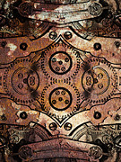 Symmetrical Digital Art Prints - Age Of The Machine 20130605rust vertical Print by Wingsdomain Art and Photography