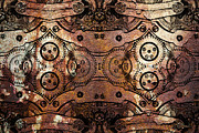 Symmetrical Digital Art Prints - Age Of The Machine 20130605rust Print by Wingsdomain Art and Photography