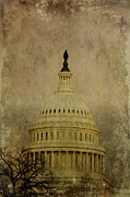 Us Capital Framed Prints - Aged Capitol Dome Framed Print by Terry Rowe