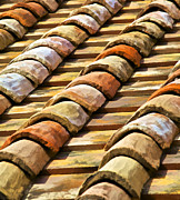 Tuscan Posters - Aged Terracotta Roof Tiles II Poster by David Letts