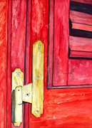 Wooden Building Painting Posters - Aged Window Shutter Hinge Poster by Carlin Blahnik