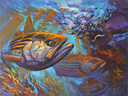 Flyfishing Painting Prints - Aggressive Intentions Print by Mike Savlen