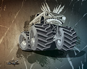 Dirty Metal Prints - Aggressive Monster Truck Grunge Metal Print by Frank Ramspott