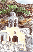Orthodox Drawings Prints - Aghio Katholiki Print by Sharon McNeil