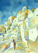 Greece Watercolor Paintings - Agios Minas 2 by Thomas Habermann