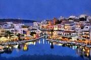 Painting Of Agios Nikolaos City Print by George Atsametakis
