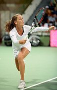Racquet Prints - Agnieszka Radwanska playing in Doha Print by Paul Cowan