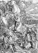 Drapery Prints - Agony in the Garden from the Great Passion series Print by Albrecht Duerer
