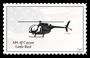 Night Stalkers Posters - AH-6J Cayuse Little Bird Poster by Arthur Eggers