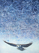 Owl Painting Metal Prints - Ahead of the Storm Metal Print by James W Johnson