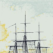 Subtle Mixed Media Posters - Ahoy Masts Poster by Brandi Fitzgerald