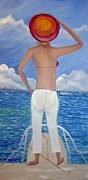 Sun Behind Clouds Painting Posters - AHOY There-Land Ahead Poster by Janice Rae Pariza