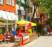 Montreal Restaurants Paintings - Ahys Yogourt Glace Ice Cream Stand Plateau Mont Royal Fro Yo Cafe Scenes Montreal Art Carole Spandau by Carole Spandau