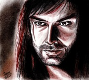 Actor Pastels Posters - Aidan Turner as Kili Poster by Joane Severin