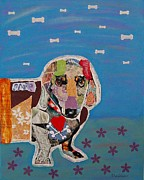 Dachshund  Art Mixed Media - Aiden by Julie  Mortillaro