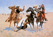 Remington Painting Prints - Aiding a Comrade Print by Frederick Remington