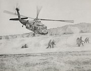 Helicopter Drawings Posters - Air Assault Poster by Michelle Hand