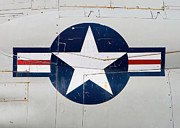 Air Force Print Art - Air Force Logo on Vintage War Plane by Stephanie McDowell