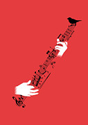 Music Notes Framed Prints - Air guitar string instrument Framed Print by Budi Satria Kwan