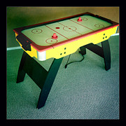 Hockey Photo Prints - Air hockey table Print by Les Cunliffe