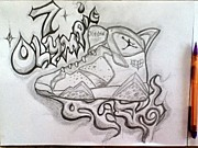 Tennis Drawings Originals - Air Jordan 7 by Alexander Wood