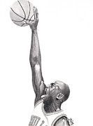 Nba Drawings Framed Prints - Air Jordan Framed Print by Devin Millington