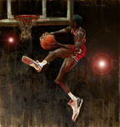 Basketball Abstract Painting Framed Prints - Air Jordan Framed Print by Jumaane Sorrells-Adewale