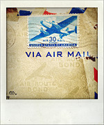 Postage Stamp Prints - Air mail Print by Les Cunliffe