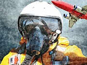 Cabin Wall Digital Art Prints - Air Pilot Print by Liane Wright